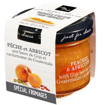 Confit de pêche, abricot, baies de Goji et cardamome